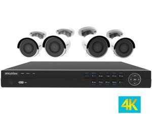 LaView 4K UltraHD (3840 x 2160P) Full PoE IP Camera Security System, 8-channel H.265 NVR w/ UHD 4K Output, 4 x 4K UltraHD Bullet Full HD In / Outdoor IP Cameras (No HDD Included, Sold Separately)