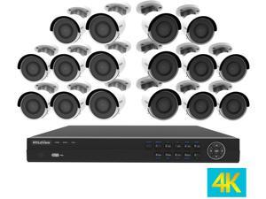 LaView 4K UltraHD (3840 x 2160P) Full PoE IP Camera Security System, 16-channel H.265 NVR w/ UHD 4K Output, 16 x 4K UltraHD Bullet Full HD In / Outdoor IP Cameras (No HDD Included, Sold Separately)