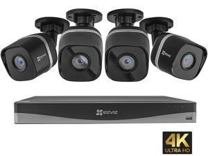 EZVIZ 4K UltraHD 8MP Outdoor IP PoE Surveillance System, 4 Weatherproof UHD EXIR Security Cameras, 4 Channel 2TB NVR Storage, 100 ft. Night Vision, Smart Video Analytics, Customizable Motion Detection