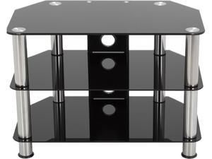 "AVF SDC800CM-A up to 42"" Chrome Effect / Black Glass Classic - Corner Glass TV Stand with Cable Mangement"