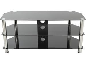 "AVF SDC1000CM-A up to 50"" Chrome Effect / Black Glass Classic - Corner Glass TV Stand with Cable Mangement"