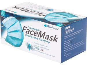 "Blue Arrow Disposable Face Mask in Blue Color, Size: 6.10"" x 4.13"", 50 pcs per Box"