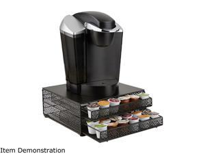 Mind Reader DBMTRAY-BLK Black 72 Capacity Double K-Cup Storage Tray with Flower Pattern Metal Mesh