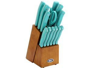 Oster 81010.14 Evansville 14 Piece Cutlery Set, Stainless Steel with Turquoise Handles