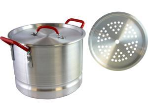 Oster Cocina 111884.02 Pamona 12 Qt Tamale Pot, Stainless Steel with Red Handles