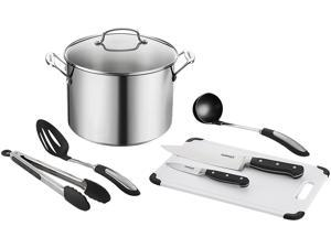 Cuisinart 76610-26PHS Chef's Classic Stainless 10 Qt. Stockpot with Essential Tools, 8 Piece set, Stainless Steel