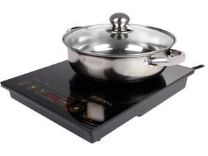 """Rosewill Induction Cooker 1800-Watt, 5 Pre-Programmed Induction Cooktop, Electric Burner with Stainless Steel Pot 10"""" 3.5 QT 18-8, RHAI-16002"""