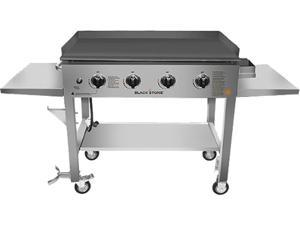 Blackstone 1560 Silver 36 in. 4-Burner Propane Gas Grill in Stainless Steel with Griddle Top