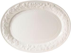 Gibson Home 2021.01 Fruitful 18.75in Oval Platter, White