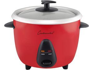 Continental Electric CE23215 Red 6-Cup (Cooked) Rice Cooker, Removable Aluminum Bowl, Red with Glass Lid