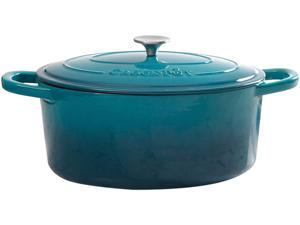 Crock-Pot 109475.02 Artisan 7 Quart Enameled Cast Iron Oval Dutch Oven in Teal Ombre