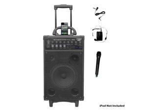 PYLE Audio - 800 WATT DUAL CHANNEL WIRELESS RECHAGEABLE PORTABLE PA SYSTEM WITH