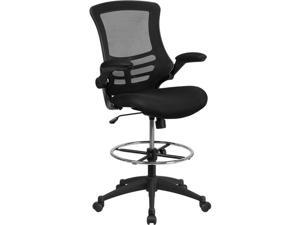 Flash Furniture BL-X-5M-D-GG Mid-Back Mesh Drafting Chair with Adjustable Foot Ring & Flip-Up Arms, Black