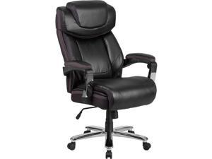 Flash Furniture GO-2223-BK-GG Hercules Series Big & Tall 500 lbs Rated Black Leather Executive Swivel Chair with Height Adjustable Headrest