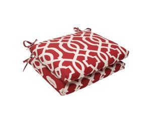 Pillow Perfect 498577 New Geo Red Squared Corners Seat Cushion (Set of 2)