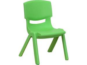 Flash Furniture YU-YCX-003-GREEN-GG Green Plastic Stackable School Chair with 10.5 in. Seat Height