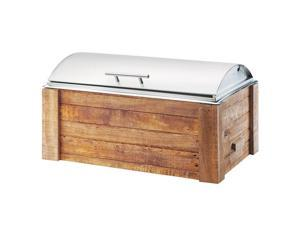 Cal Mil 3429-99 12 x 20 in. Madera Chafer with Lid - Brown & Silver