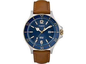 d406831ec Timex TW2R64500JT Mens Harborside Leather Strap Watch, Tan ...