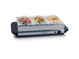 MegaChef MC-9003B Buffet Server & Food Warmer With 3 Removable Sectional Trays, Heated Warming Tray and Removable Tray Frame
