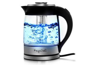 MegaChef MGKTL-1777 1.8 Litre Cordless Glass & Stainless Steel Electric Tea Kettle with Tea Infuser