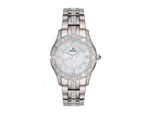 4c487f8c2 Bulova Ladies Swarovski Crystal Bracelet Mother of Pearl Dial Watch 96L116
