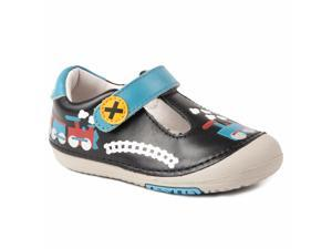 ab9ea5f6238c Momo Baby Boys First Walker Toddler Train Black T-Strap Leather Shoes