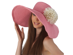 f767969b292 Luxury Lane Women s Pink Floppy Sun Hat with White Flower Appliques