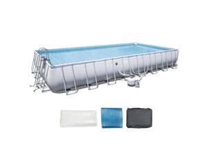 Bestway 56625E 31.3 x 16-Foot Rectangular Frame Above Ground Pool Set with Pump