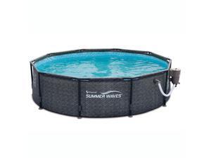 """Summer Waves 10' x 30"""" Above Ground Frame Swimming Pool Set w/ Pump, Dark Wicker"""
