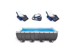 "Intex 18' x 9' x 52"" Ultra Frame Rectangular Above Ground Pool Set with Floats"