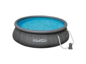 "Summer Waves 12' x 36"" Quick Set Ring Above Ground Pool with Pump, Dark Wicker"