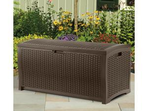 Suncast 73 Gallon Waterproof Resin Wicker Outdoor Patio Storage Deck Box, Mocha