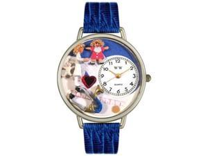 Pediatrician Royal Blue Leather And Silvertone Watch #U0620006