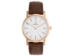 dbae4bd3e Bulova White Dial Rose Gold-tone Brown Leather Mens Watch 97A106
