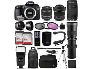 "Canon EOS 60D Digital SLR Camera with EF-S 18-55mm and EF 75-300mm Lens, 2x 64GB SD Card, 72"" Monopod, X-GRIP Action Stabilizing Handle, 2.2x Telephoto Lens, 10pcs Cleaning Kit and Accessory Bundle"