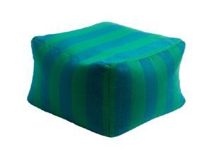 "14"" Deep Lime and Blue Chic Square Outdoor Patio Pouf Ottoman"