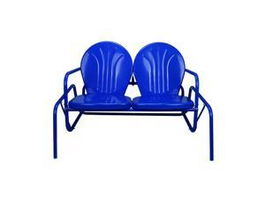 "41"" Electric Blue Retro Metal Tulip Outdoor Double Glider"