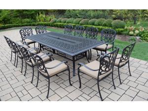 13-Piece Jet Black Aluminum Patio Outdoor Dining Set with Cream Cushions