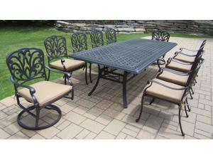 11-Piece Jet Black Aluminum Stackable and Swivel Chair Patio Dining Set w/Cream Cushions