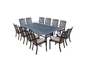 13-Piece Black Morocco Outdoor Stackable Chair Patio Dining Set w/ Cream Cushions