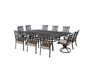 11-Piece Black Morocco Aluminum Patio Stackable and Swivel Dining Set w/ Cream Cushions