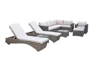 11-Piece Brown Borneo All-Weather Resin Wicker Modular Sectional Set w/ Gray Cushions