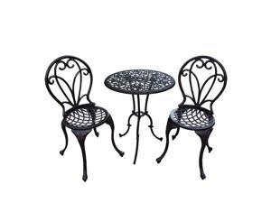 "36.2"" 3 Pc. Antiqued Bronze and Black Colored Detailed Outdoor Patio Bistro Set"