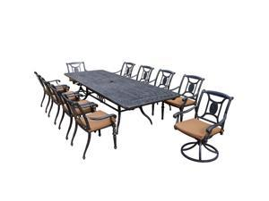 11-Piece Aged Black Finish Aluminum Outdoor Furniture Patio Dining Set - Tan Cushions