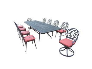 11-Piece Aged Black Finish Aluminum Outdoor Furniture Patio Dining Set - Red Cushions