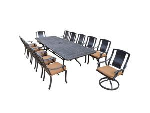 13-Piece Aged Black Finish Aluminum Outdoor Furniture Patio Dining Set - Tan Cushions