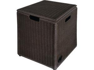 "15.5"" Wicker Outdoor Patio Asheville Tank Hideaway with Removable Lid"