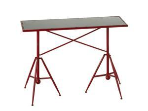 "42"" Red and Gray Distressed Wooden Tripod Base Outdoor Patio Table"