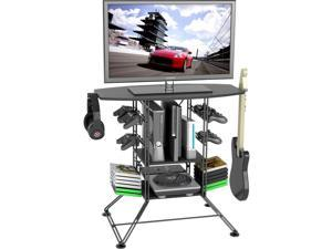 Atlantic 4553-5800 Centipede Game Storage and TV Stand with Black Metal Wire Top and Black Carbon Fiber Steel