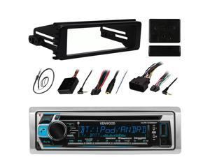 "Kenwood KMR-D368BT Stereo Receiver CD MP3 Player - Bundle Combo With Metra DIN Dash Installation Kit + Handle Bar Controller Module + Enrock 22"" AM/FM Radio Antenna For 1998-2013 Harley Motorcycles"